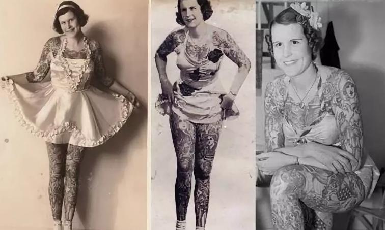 Татуированная леди Бетти Бродбент, одна из первых поклонниц татуировки